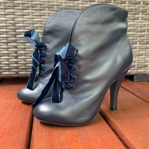 Mojo Moxie Blue Leather Booties -from ModCloth